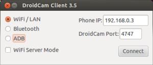 Ventana de configuración del cliente Droidcam