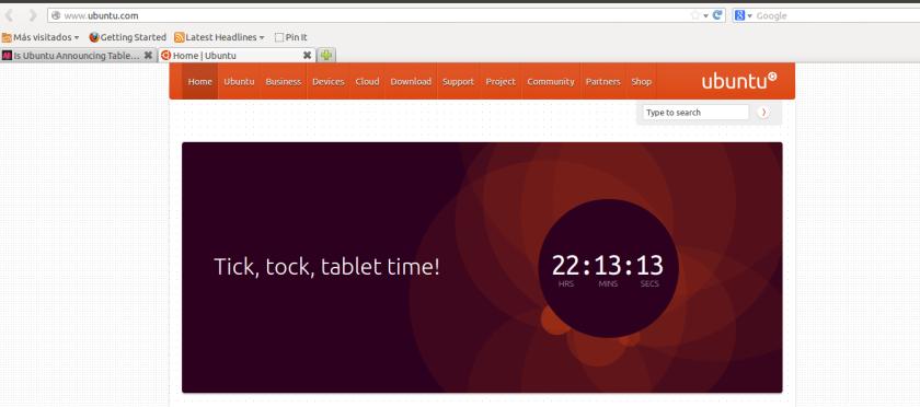 Captura de pantalla de la página de Ubuntu.
