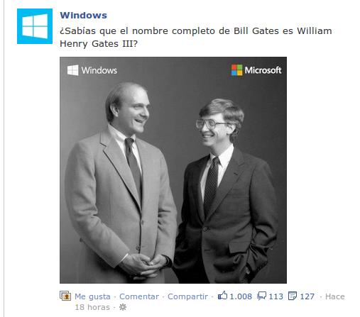 """Absolutamente intrascendente entrada en el muro de Facebook de Windows en castellano que increíblemente consiguió mas de 1000  """"me gusta!"""
