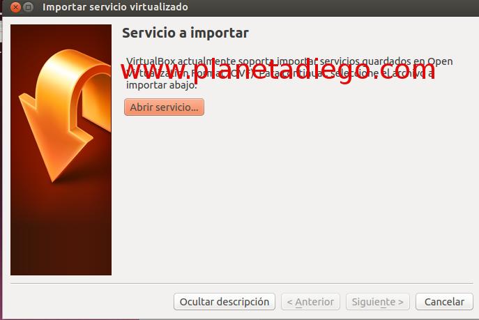 Abriendo servicios importados en Virtualbox