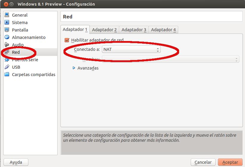 opciones de red en virtualbox