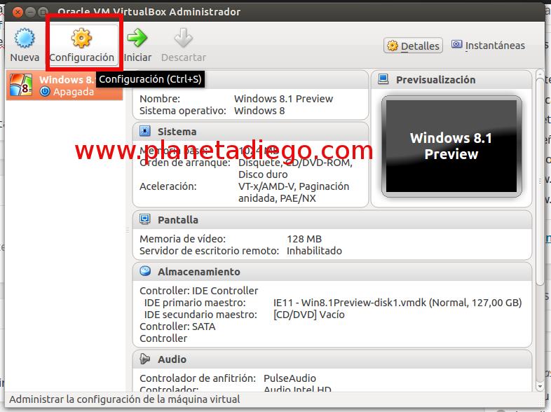 configuración virtualbox