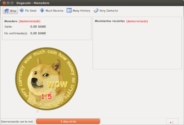 planetadiego.com pantalla inicial del monedero dogecoin