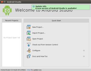 Pantalla inicial de Android Studio