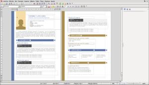 Plantilla de currículum creada por Microsoft Office y abierta con FreeOffice TextMaker