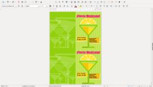 Plantilla de cartel creada con Microsoft Word y abierta con LibreOffice Writer