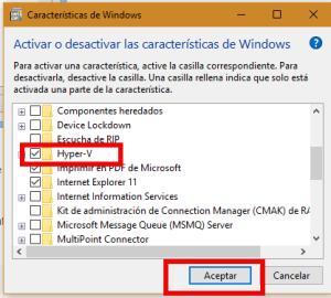 Desactivado de Hyper V para poder instalar sistemas operativos de 64 bits en Windows 10