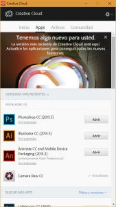 Aplicación Adobe Creative Cloud para escritorio