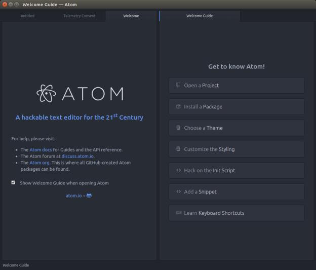 Pantalla de inicio de Atom