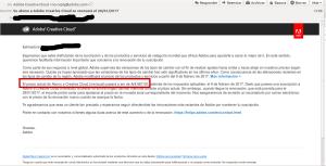 Mail enviado por Adobe a sus suscriptores