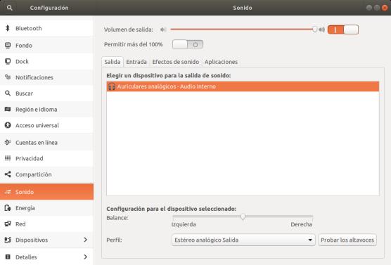 Gestión de dispositivos de salida de audio en Ubuntu 17.10 Artful Aadvark