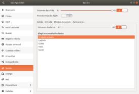 Sonidos del sistema en Ubuntu 17.10 Artful Aadvark