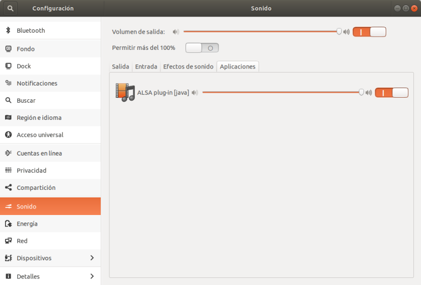Selección de aplicaciones que pueden emitir audio en Ubuntu 17.10 Artful Aadvark