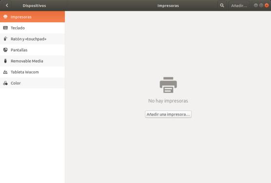 Configuración de impresoras. Ubuntu 17.10 Artful Aadvark