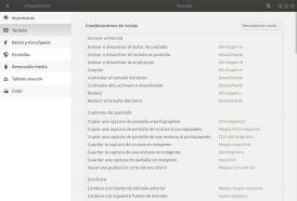 Configuración de atajos de teclado. Ubuntu 17.10 Artful Aadvark