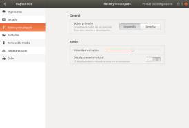 Configuración de ratón y Touchpad. Ubuntu 17.10 Artful Aadvark