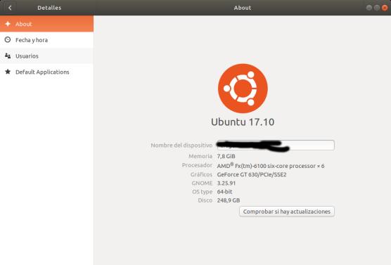 Información del sistema.Ubuntu 17.10 Artful Aadvark