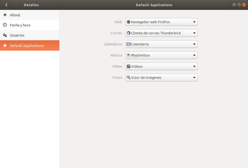 Selección de aplicaciones predeterminadas. Ubuntu 17.10 Artful Aadvark