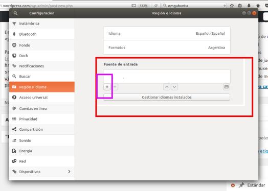 Configuración entrada de teclado Ubuntu 17.10 Artful Aaadvark