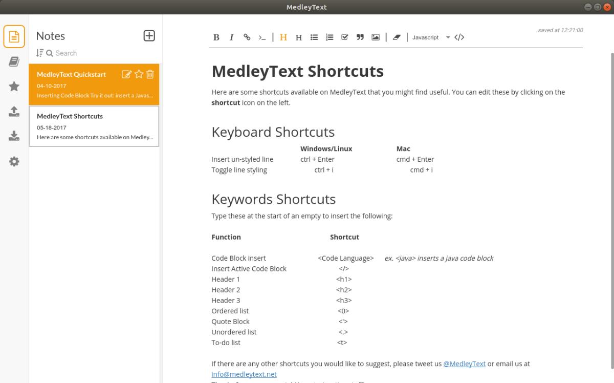 Medleytext. Un block de notas con funciones paraprogramadores