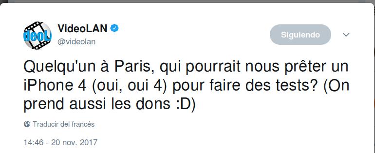 ¿Estás en París y tienes un iPhone 4? La gente de Videolan lonecesita.
