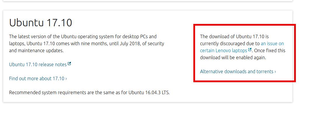 ¿Dónde descargar Ubuntu 17.10 Artful Aadvark mientras el enlace de la página principal nofuncione?