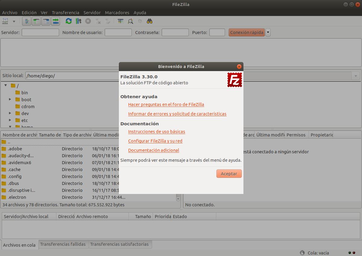 Instalar el cliente ftp Filezilla 3.30.0 enLinux