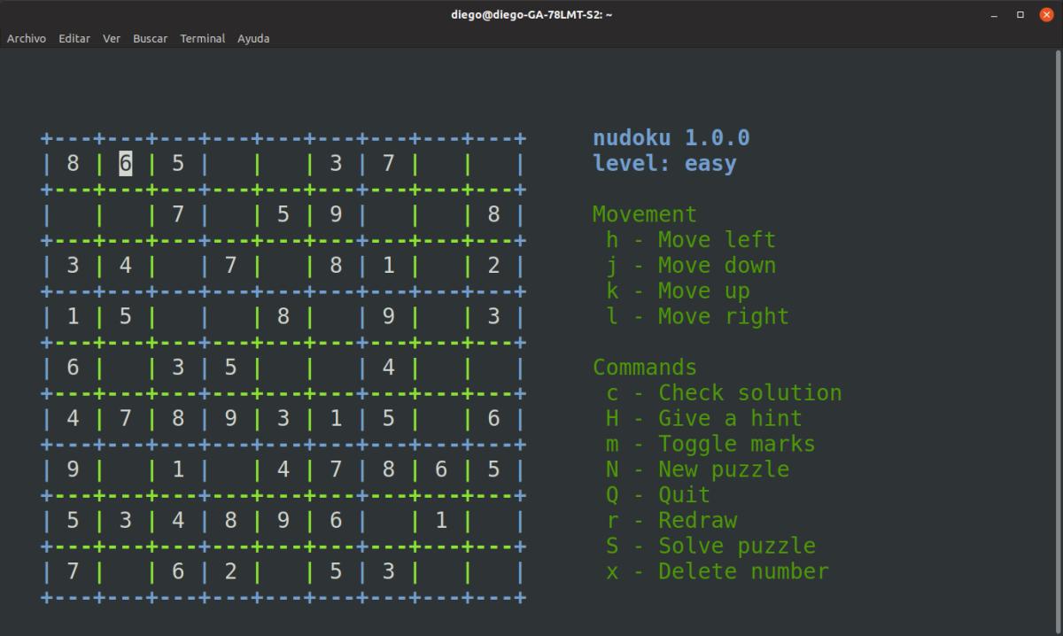 Nudoku: Resuelve sudokus en la terminal deLinux